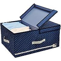 Tamaño Jumbo, diseño plegable, Tela gruesa de poliéster, recipientes de almacenamiento, ropa Organizador Caja con tapadera y placas de división removible, 60 litros, azul con los puntos