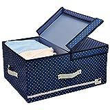Kleiderablage für Schlafzimmer Schränke, 60 Liter, faltbarer Deckel und abnehmbare Divider Board, Navy blau