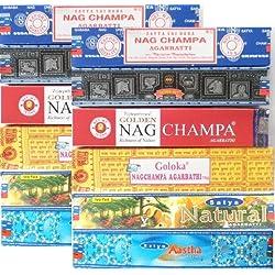 Varillas de incienso 12 cajitas Satya Nag Champa Goloka 6 Nagchampa aroma fragancia ambientador