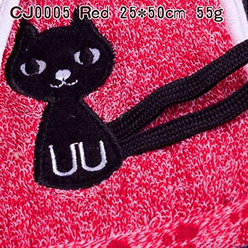 junchen Torchon Coton Enfant serviette de la mode cartoon chat Serviettes Livraison gratuite Serviette Visage Profondeur couleur, cj0005 Rouge, 25 x 50 cm