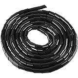 Sourcing Map Gaine spirale flexible pour gestion des c/âbles 20 mm x 24 mm Noir 2 m
