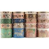 Lychii Washi Tape set, 20 rollen gouden folieprint masking tapes, multi-patroon decoratieve tape collectie voor kunst en doe-