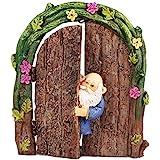 Wonderland Plastic and Polyresin Miniature Fairy Garden Gnome in The Door Decoration, Medium (Multicolour) - Pair of 1
