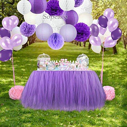 Sopeace Party-Dekorationsset lila weiß Seidenpapier Pompons Blumen Papierlaternen Papierball und Latex-Luftballons Geburtstag Hochzeit Taufe Frozen Motto Party Dekoration für Erwachsene Jungen Mädchen