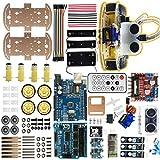 Mallb Kits de châssis de voiture de robot intelligent à 4 roues IR obstacle éviter le suivi de ligne compatible pour Arduino