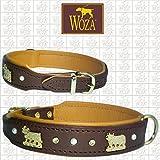 Woza Premium HUNDEHALSBAND Kühe 2,5/42CM mit Strass und Perlen Vollleder Braun RINDNAPPA Leder Cognac Messing Collar