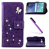 EMAXELERS Galaxy J3 2016 Coque Cristall Bling Glitter Papillon Clover PU Cuir Portefeuille Housse Swag Couverture pour Samsung Galaxy J3 (2016),Purple Clover with Butterfly and Diamond