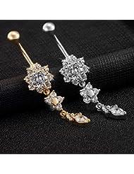 2 pièces piercing nombril Titane Acier UWILD ® cadeau nombril piercing nombril bijoux piercing de cristal brillant Bow diamant Navel Ring Belly Ring