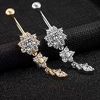 2 pezzi piercing all'ombelico regalo d'acciaio di titanio UWILD ® gioielli in cristallo piercing all'ombelico piercing all'ombelico Belly Ring Arco di lucido diamante Navel Ring