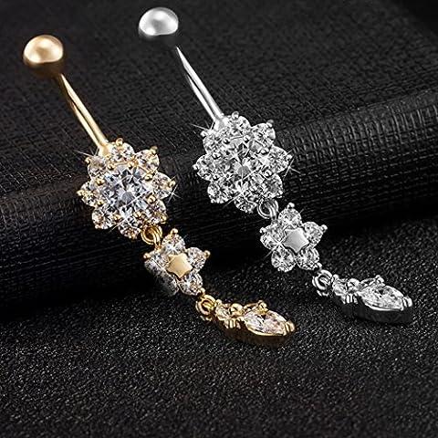 2pieza Ombligo Titanio Acero Inoxidable Caja de Regalo uwild® Ombligo Ombligo Cristal SGP joyas arco de diamante de de ombligo anillo de vientre de anillo