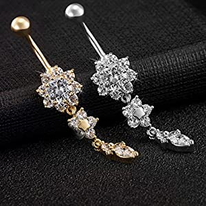 2 Stück Nabelpiercing Titan Edelstahl Geschenkbox UWILD ® Bauchnabelpiercing Bauchnabel Piercing Kristall Glas Glänzende Schmuck Bogen-Diamant-Nabel-Ring-Bauch-Ring