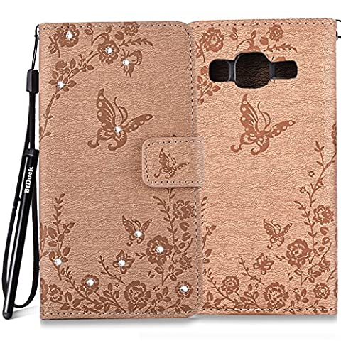 BtDuck Leather Case for Samsung Galaxy Grand Prime SM - G530 inch Stand Embossed Brown Butterfly Rose Foliage Leaves Phone Protector PU Leather Flip Folio Bling Bling Cover Anti-slip Skin Outdoor Protection Simple Strict Shockproof Heavy Duty Robust Bumper Case Shell with Stander Oyster Card ( Travel Card Bus Pass)Holder Slots Pocket Kickstand Function Magnetic Closure Sparkling Rhinestones + 1 * Black Stylus Pen Black