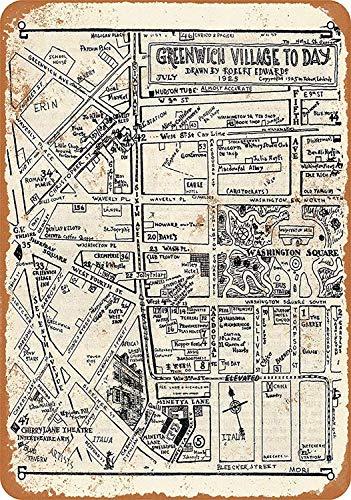 KODY HYDE Metall Poster - Greenwich Village to Day - Vintage Blechschilder Retro Dekoration Schild Aluminium Wandkunstplakat Zum Bar Cafe Büro Pub Wohnzimmer Garage