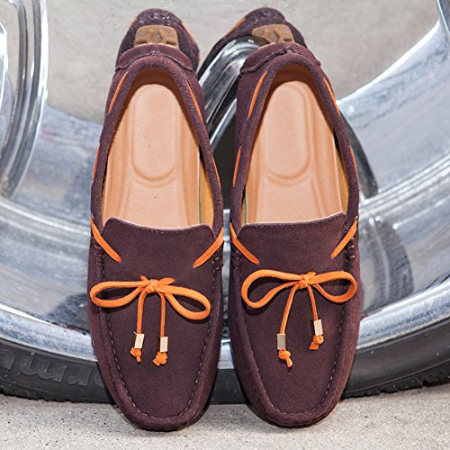 Herren Klassische Lederne Schuhe Wildleder Mokassin Slipper Halbschuhe Freizeit Loafers Schuhe Braun