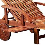 Gartenliege aus Akazienholz klappbar, Rollen und verstellbar mit Tisch von Deuba - 3
