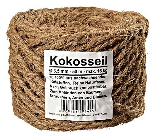 Kokosseil 3.5 mm - Baumanbinder aus Kokosfaser - ungefärbte Naturfaser - 50 m