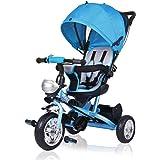 Dreirad Kinderdreirad Kinder Fahrrad Rad Baby Kleinkinder ✔klappbares Sonnendach ✔Elternlenkung ✔viele Vorteile ✔leise PU-Reifen ✔für Jungen und Mädchen ✔mitwachsend ✔blau