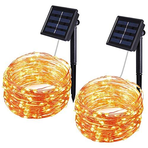 Oria Solar Lichterkette Außenlichterkette Wasserdicht Kupferdraht 100er LED 33ft(10m) IP65 für Hochzeit, Weihnachtsfeier, Weihnachtsbeleuchtung, etc – 2 Pack Warmweiß