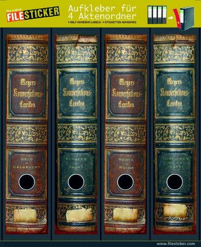 Vier, Meyers (File Sticker - Design Etiketten - Motiv Meyer's Lexikon - für 4 breite Ordner)