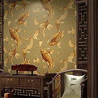 Sunzhi Goldfisch Koi Fische Springen Wallpaper Neue Chinesische Kalligraphie Retro Restaurant Tv Kulisse Tapete