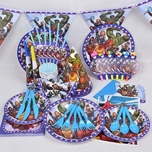 Avengers komplett Party Supplies Kids Set Boy Geburtstag Teller Becher Hüte Trinkhalme Party Taschen und mehr