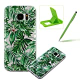 TPU Case for Samsung Galaxy S7,Clear Case for Samsung Galaxy S7,Herzzer Ultra Slim Stylish [Banana Leaves Pattern] Soft Silicone Gel Bumper Cover Flexible Crystal Transparent Skin Protective Case for Samsung Galaxy S7 + 1 x Free Green Cellphone Kickstand + 1 x Free Green Stylus Pen