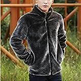Lemumu Men's Casual/Täglich Einfache Winter Pelzmantel, Feste Langarm regelmäßige Fuchs Fell Stand, 3 XL, Grau