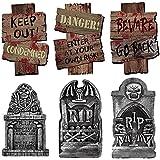 ALINILA Piedra sepulcral de Halloween * 3 Señal de Advertencia * 3, para artículos de Fiesta Decoración del Patio de la casa