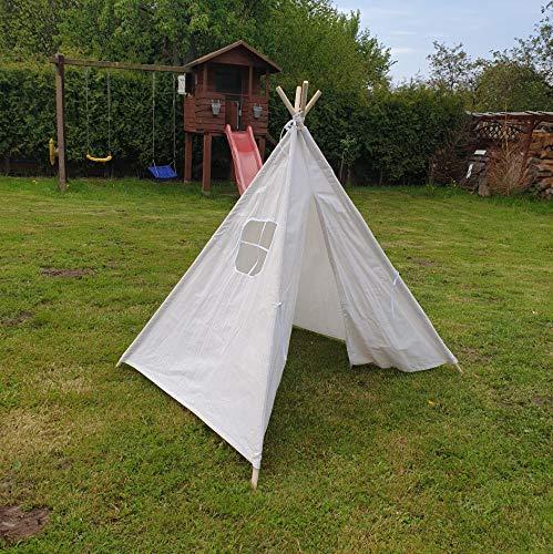 Amazinggirl Tipi Spielzelt für Kinder Zelt Stoffzelt Kinderzelt mit Fenster Holzstangen Indianerzelt Spielhaus (Weiß, 140cm)