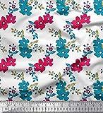 Soimoi Blanc Poly Georgette en Tissu Feuilles et Fleurs Artistique Tissu Imprime par Metre 42 Pouce Large