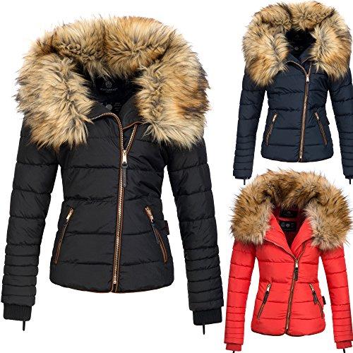 Navahoo AZU Damen Winter Jacke Parka Steppjacke großer Kunst-Fellkragen XS-XL 3