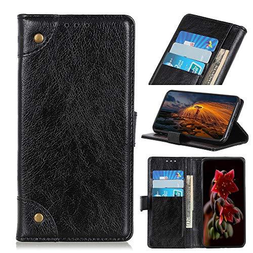 PAN-DE Ledertaschen CUBOT Copper Buckle Nappa Texture Horizontal Flip Leder Tasche für Xiaomi 9 SE, mit Halter & Kartensteckplätze & Geldbörse (Schwarz) (Color : Black)
