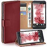 moex HTC One M7 | Hülle Dunkel-Rot mit Karten-Fach 360° Book Klapp-Hülle Handytasche Kunst-Leder Handyhülle für HTC One M7 Case Flip Cover Schutzhülle Tasche