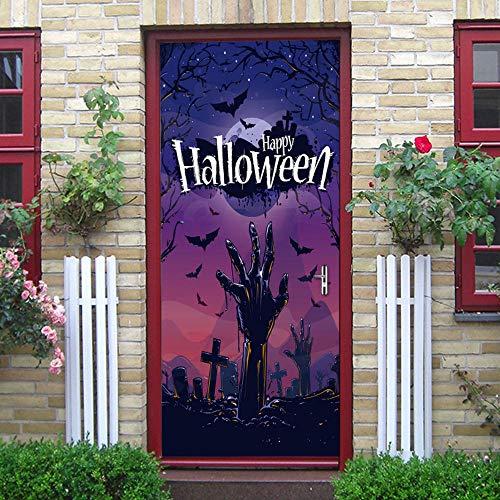 3d tür aufkleber halloween friedhof zombie bild, diy kunst kreative dekorative tapete poster vinyl aufkleber, wasserdicht abnehmbare 77x200 cm