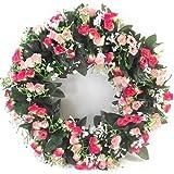 42cm de lumière artificielle et rose vif Rose Couronne pour en ou extérieur-Maison funéraire de mariage