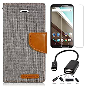 Relax&Shop Premium Drop Protection Wallet Flip cover For Motorola MOTO G4 Plus - ( Matte Grey + OTG )