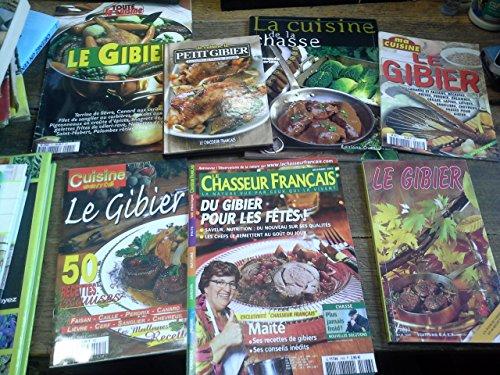 Lot de 7 livres et revues de recettes de gibier, la cuisine de la chasse -