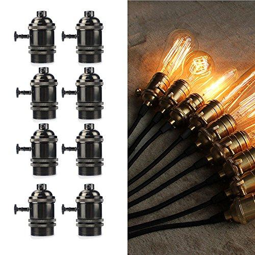 Douille E27 Lampe, jeffrien Retro Douille avec interrupteur pour suspension plafonnier Support, Métal, Noir, Lot de 8