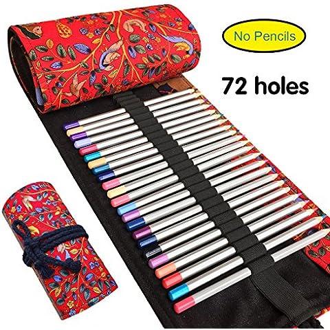 Lápiz de lona del abrigo, Ambielly lápiz titular de la caja de lápiz del lápiz de lápiz del bolso de la bolsa con el elemento Nacional para la Oficina de la Escuela del arte del arte (No lápices) (72-Holes,feliz árbol rojo)