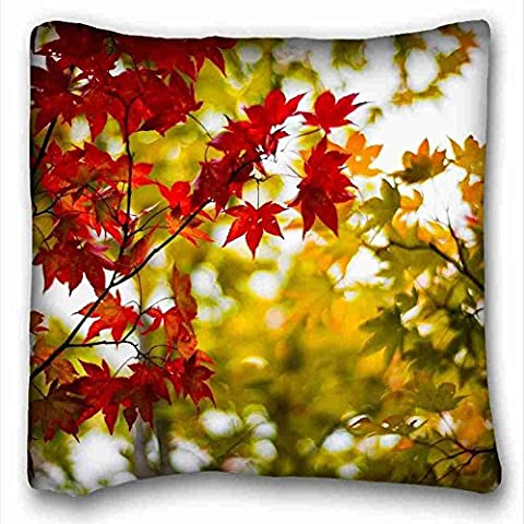 Custom ( Nature Leaves leaves frost macro autumn ) Pillow Cushion Case Cover One Sides Printed 16x16 Inches suitable for King-bed