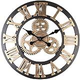 Xiaoyezi 3D Horloge Murale 60 * 60cm Grand Classique Vintage en Bois Silencieux Rétro Vitesse Pendaison Horloge Chiffre Romai