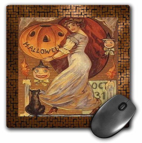 3drose LLC 20,3x 20,3x 0,6cm Maus Pad, Vintage Halloween Lady Holding Jack O Laterne (MP 6194_ 1)