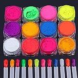BISHENGYF 12 Boxes Pigment Nail Powder?Fluorescence Pigment Ultrafine Glitter Powder Nail Pigments Dust Nail Glitter Gradient