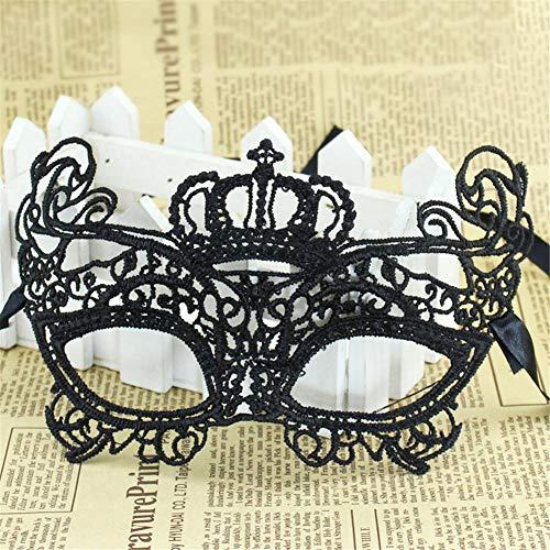TUANMEIFADONGJI Halloween Maske Openwork Lace Maske Schwarz Sexy Queen Nachtclub Bar Dance Party Tanzbrille Maske Ball Kleider Maske Masquerade Ball Frauen Maske Masquerade Black Lace Mask Masquerade