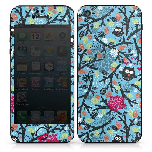 Apple iPhone 5 Case Skin Sticker aus Vinyl-Folie Aufkleber Eulen Muster Blätter DesignSkins® glänzend