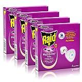 4x Raid Night & Day Trio Insekten Stecker Nachfüller, gegen Mücken, Fliegen & Ameisen