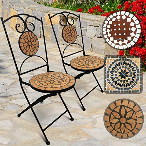 Schwarz Sand Durch Keramik (Jago Mosaik Gartenstühle Rund, 2er Set | Klappbar, 46cm Sitzhöhe, Massiv und Stabil, Terracotta-Schwarz | Farb- und Designauswahl | Mosaikstühle, Klappstühle, Balkonstühle)