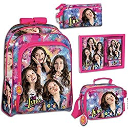 School Backpack Soy Luna Disney 43cm Bundle with Pencilcase Lunch Bag and Diary Notebook Pen