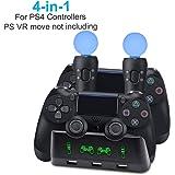 AMANKA PS4 Chargeur Manette Station de Charge PS4 VR / PS Move Station de Charge de Contrôleur Double port de Charge pour PS4