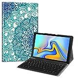 Fintie Bluetooth Tastatur Hülle für Samsung Galaxy Tab A 10.5 SM-T590/T595 Tablet-PC - Ultradünn leicht Schutzhülle mit magnetisch Abnehmbarer drahtloser Deutscher Bluetooth Tastatur, smaragdblau